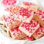 Valentine's Day Fudge with sprinkles on top in a bowl