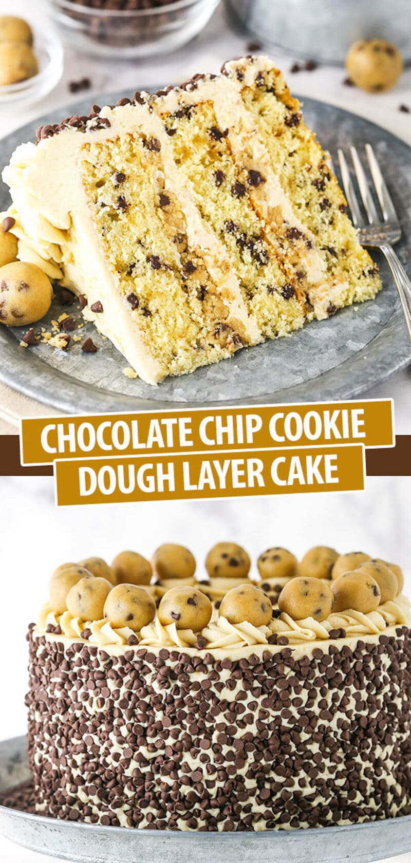 A Collage of Two Images of Chocolate Chip Cake with One Slice and One Whole Cake