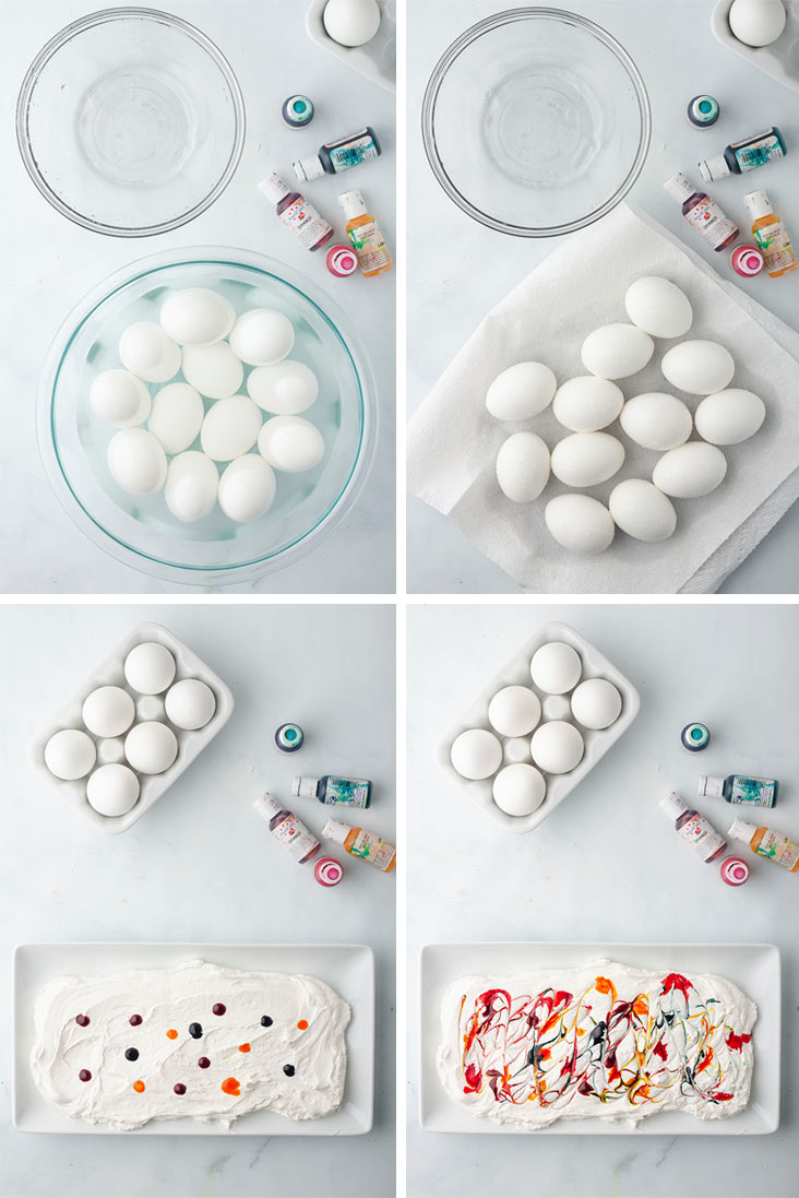 steps showing eggs in vinegar, eggs drying, drops of color on cool whip and color swirled into cool whip