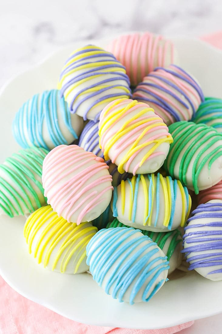 easter egg balls in a bowl, image from side angle