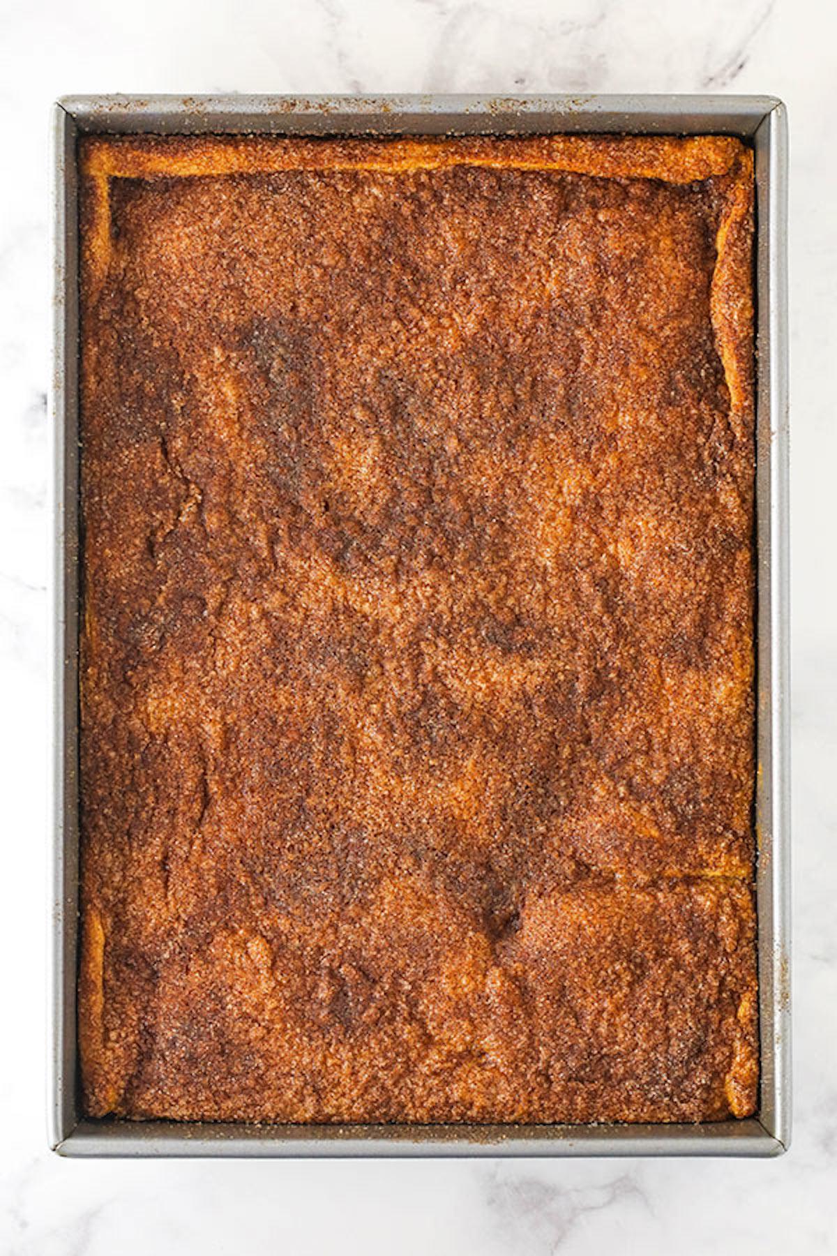 A Bird's Eye View of a Pan of Sopapilla Cheesecake Bars
