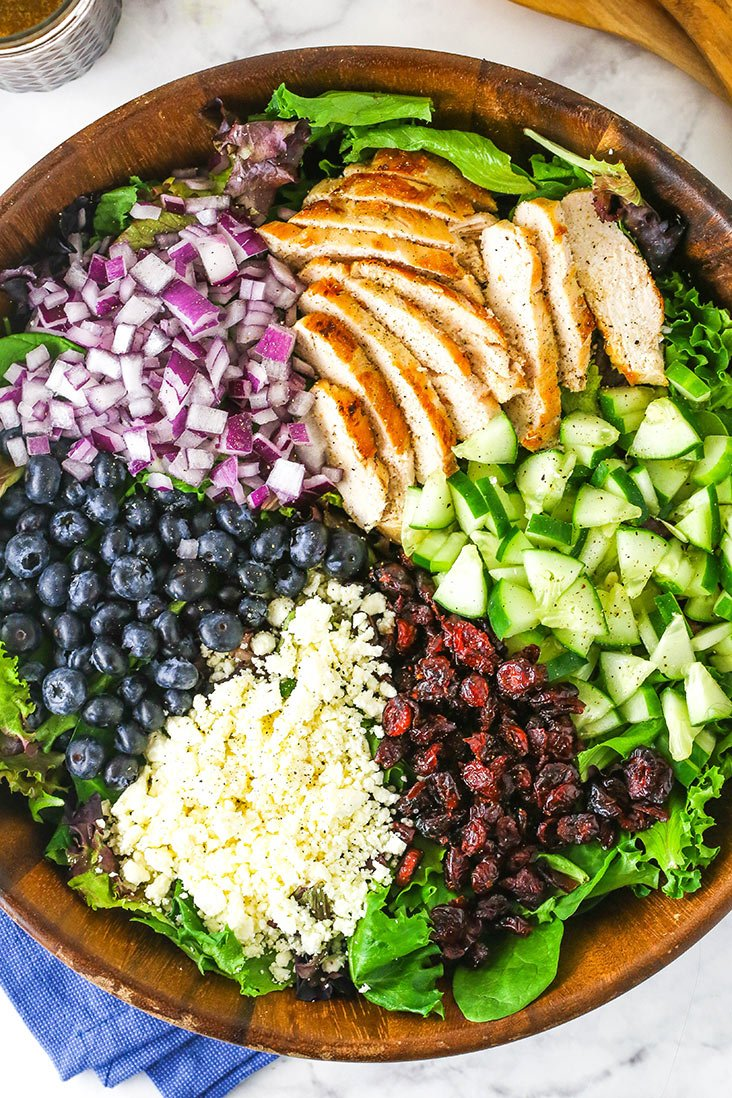 A bowl of greens with sliced chicken, onions, blueberries, feta, cucumber and dried cranberries