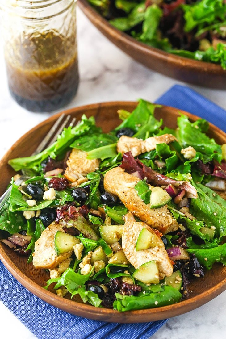 A bowl of Chicken Blueberry Feta Salad