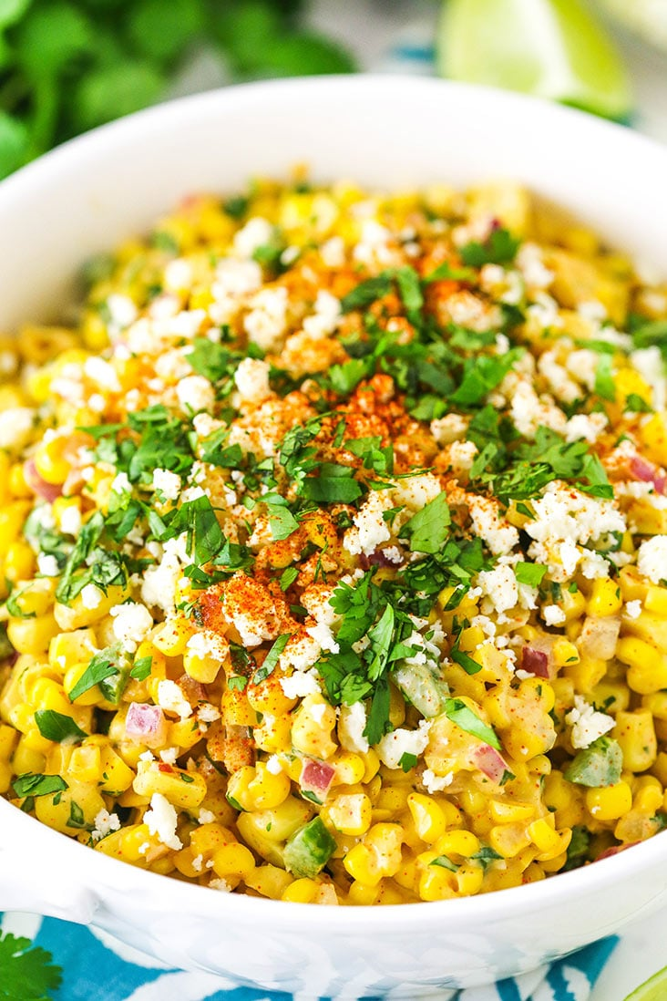 close up of mexican street corn salad
