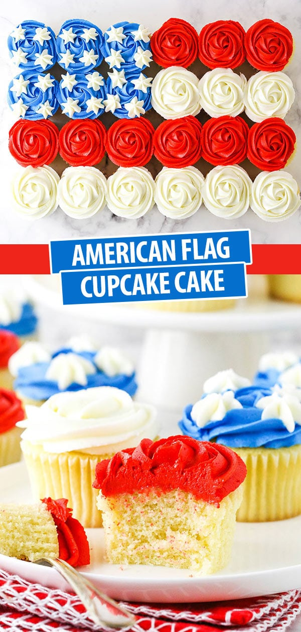 two images - one of the full flag cupcake cake and one with a cupcake on a white plate and bite taken