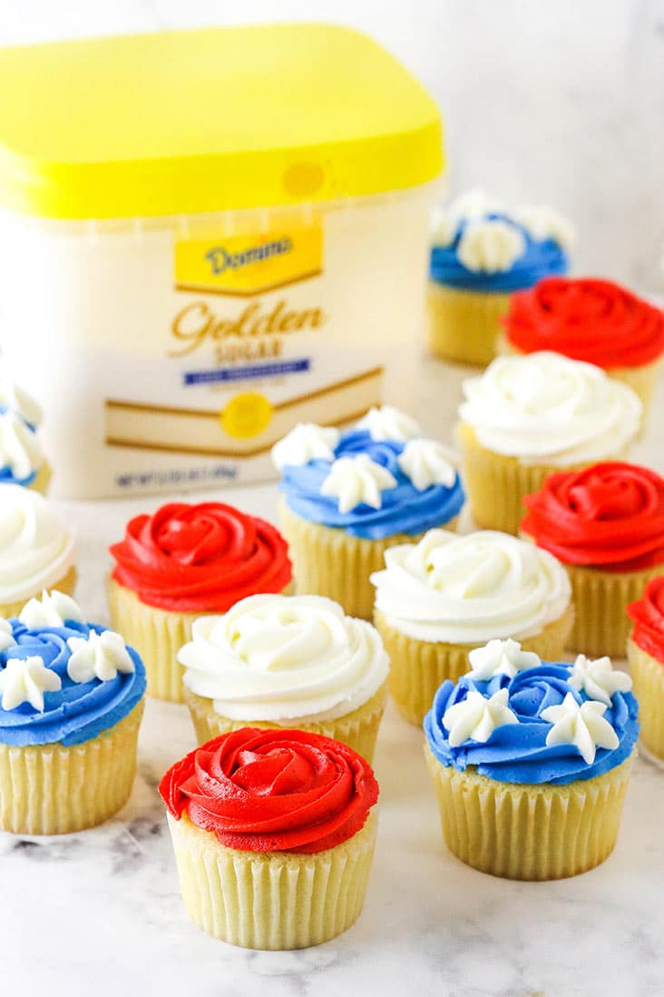 flag cupcakes around the golden sugar package