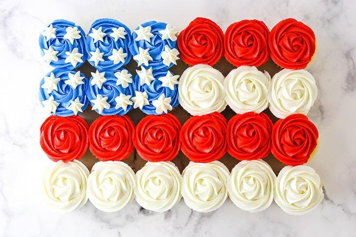 horizontal image of full american flag cupcake cake