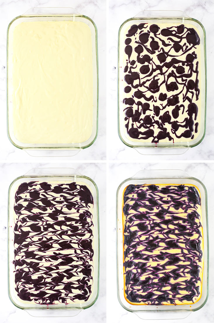 Four photos of adding blueberry sauce to cheesecake batter and swirling it