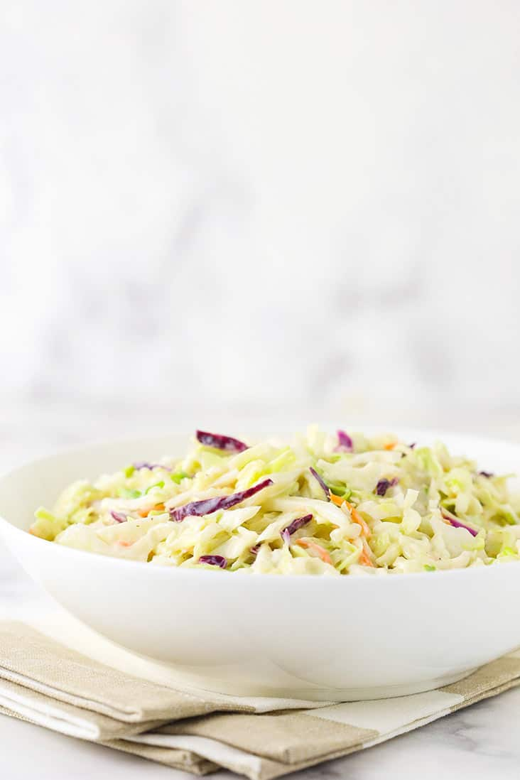 Classic coleslaw in a white bowl