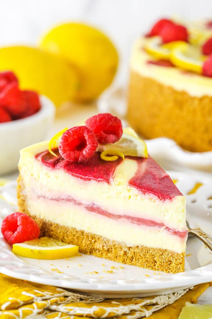 A slice of lemon raspberry cheesecake