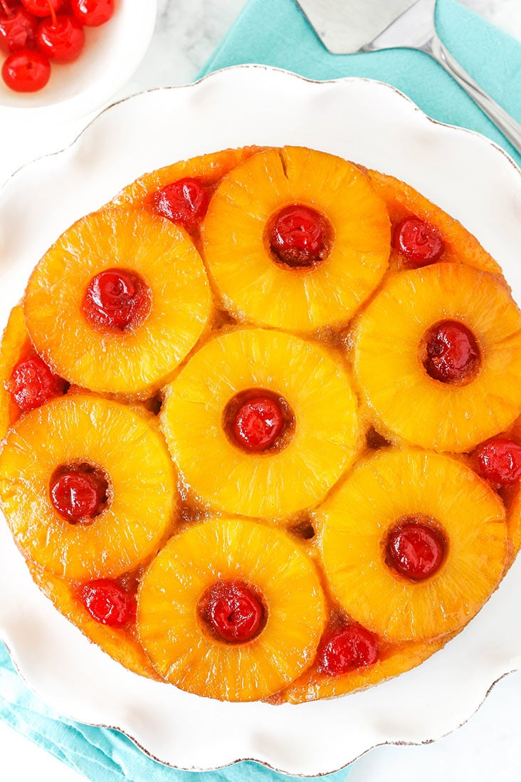 Aerial view of pineapple upside down cake