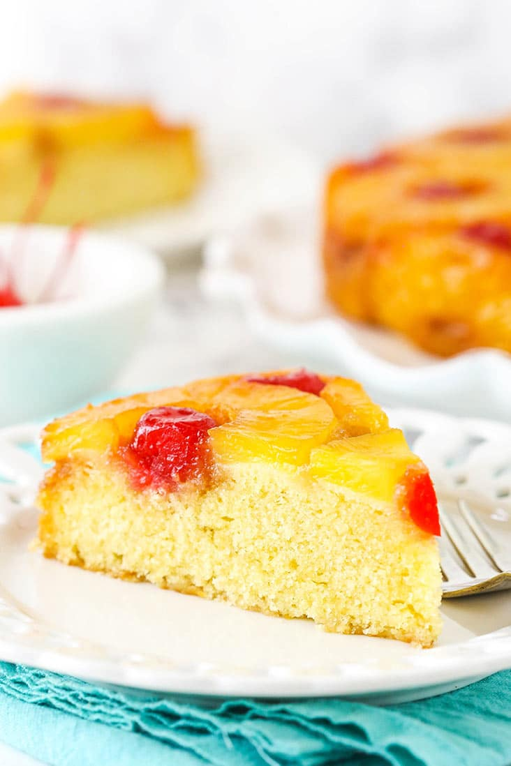 A slice of pineapple upside down cake