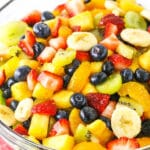 close up of fruit salad in clear bowl