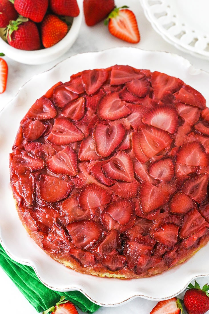 Overhead view of a strawberry upside down cake