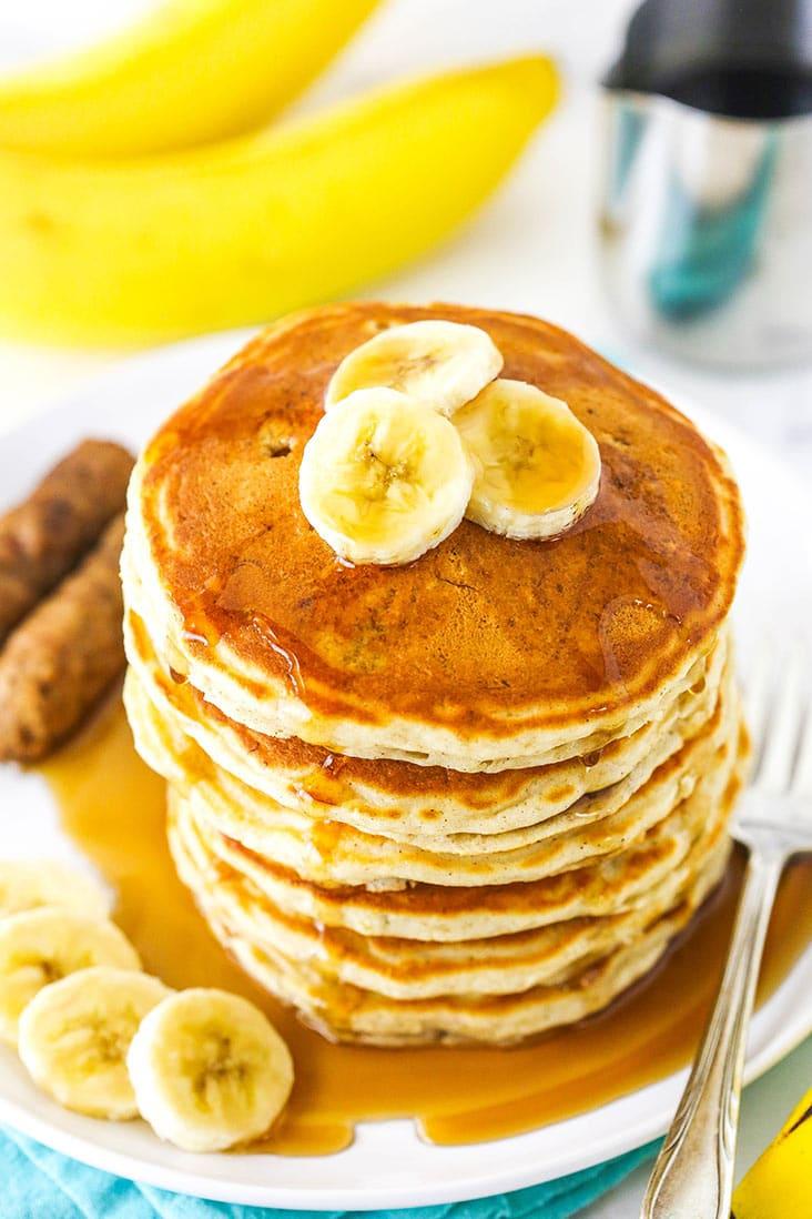 A stack of banana pancakes