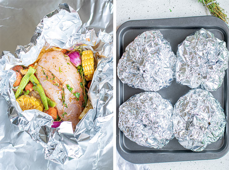 image of ingredients in foil packet prior to baking and four foil packets on a baking sheet