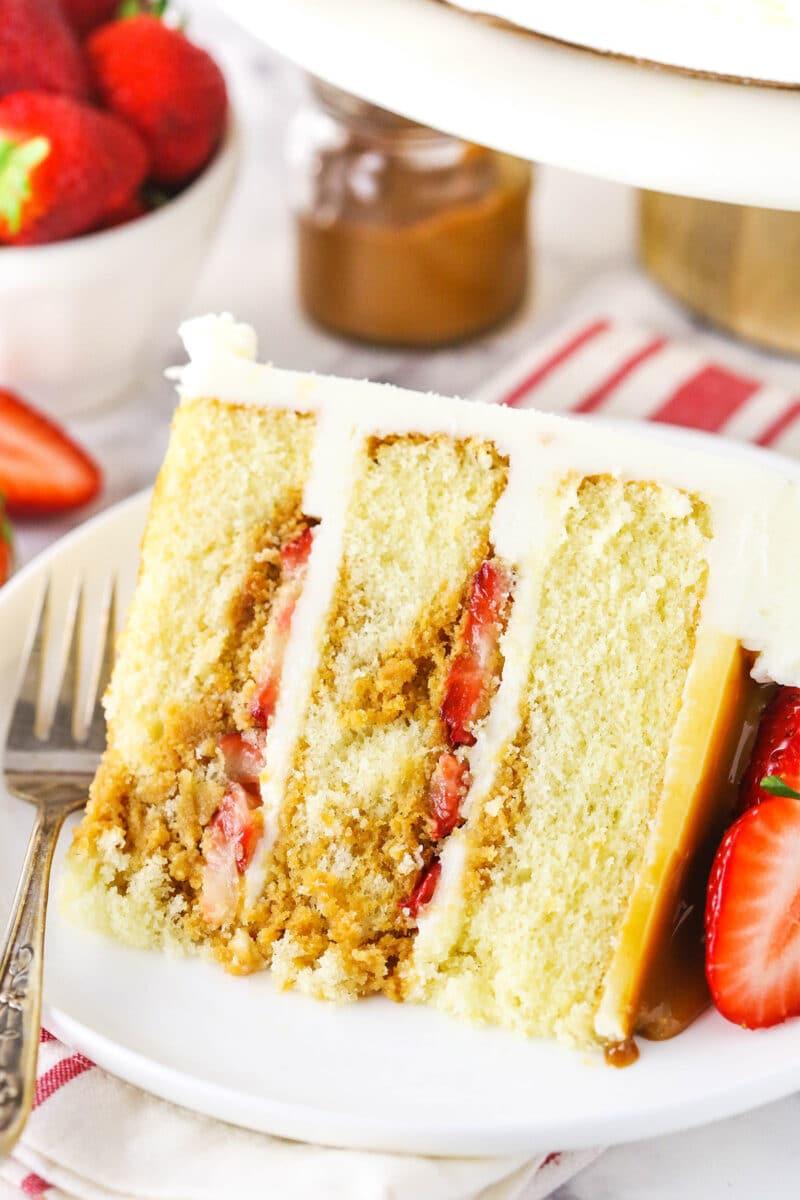 slice of Strawberry Dulce De Leche Cake