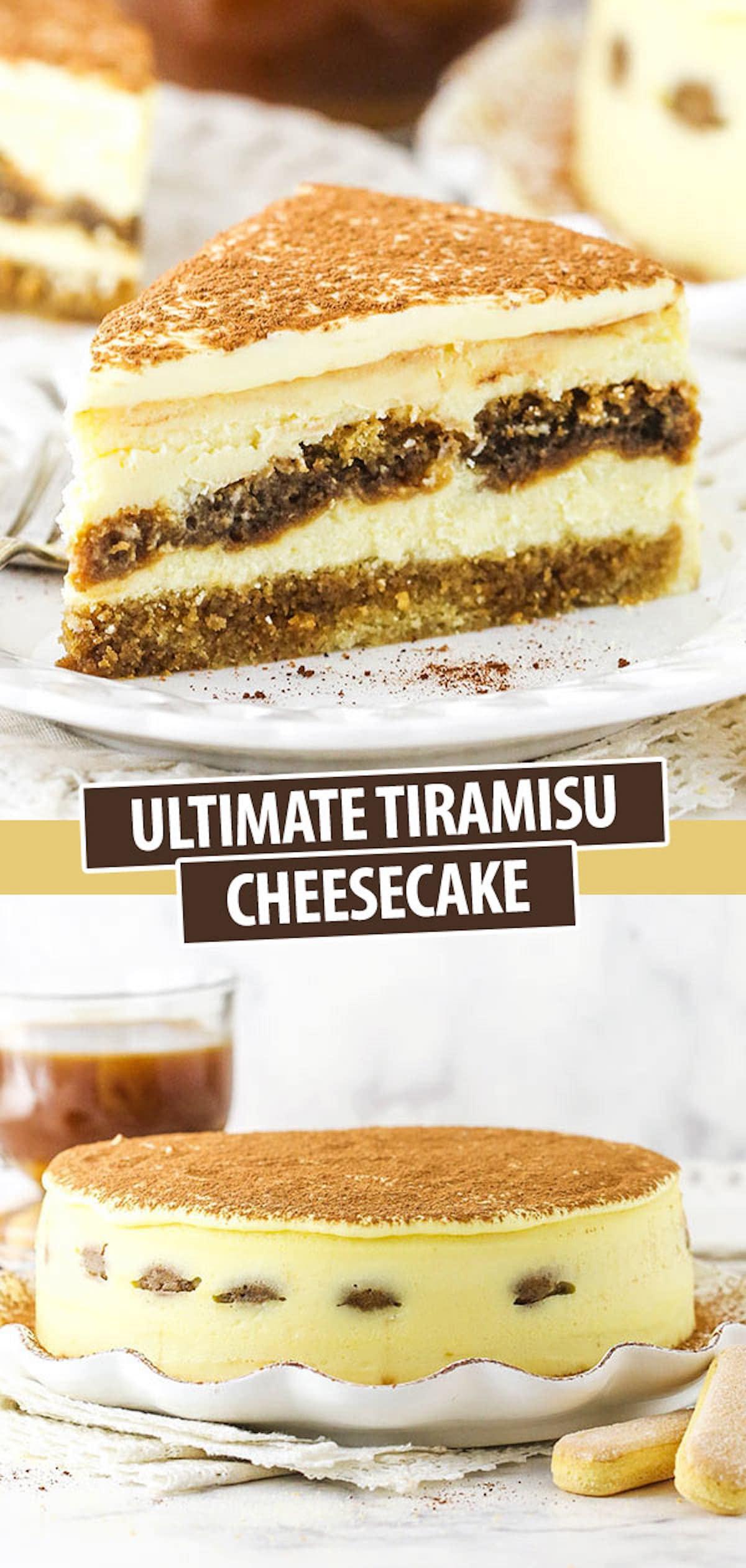 A Collage of Two Images of Tiramisu Cake – One Showing a Single Slice and One Showing the Whole Cake