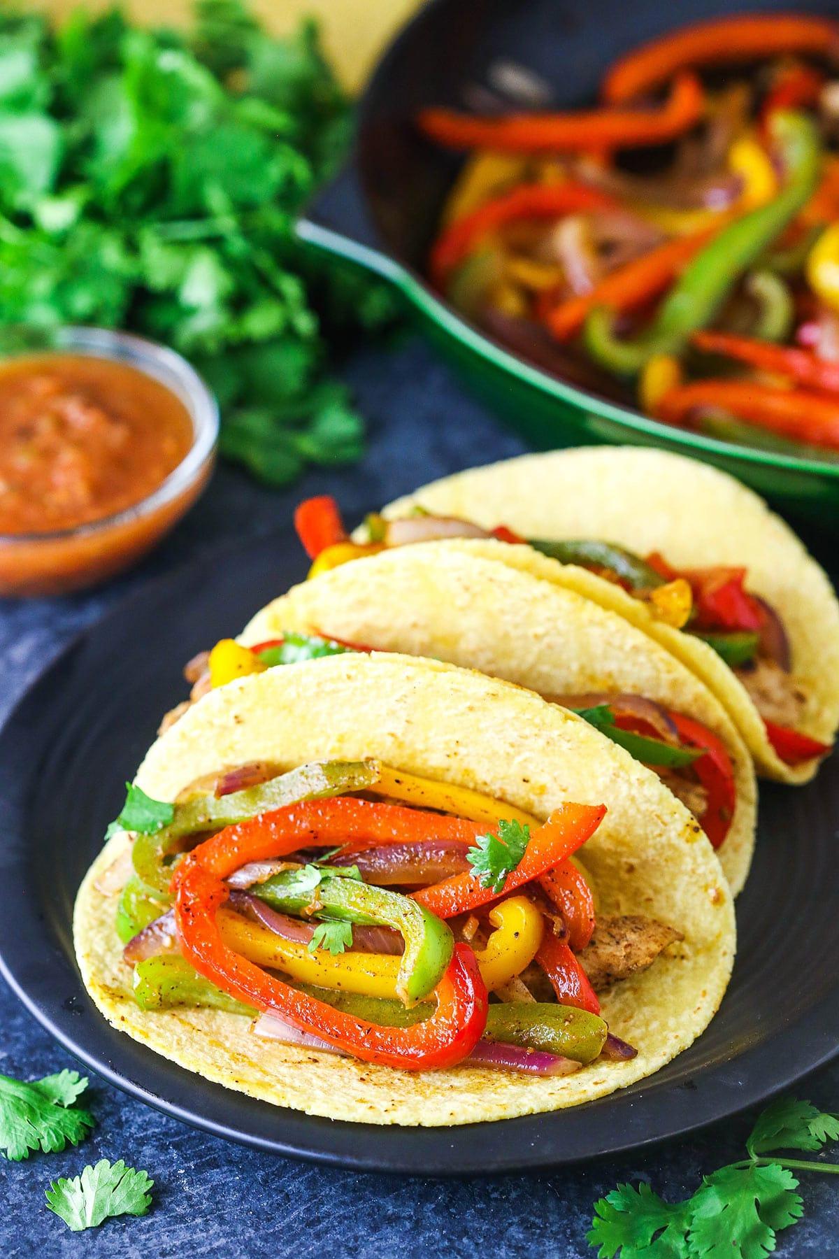 Vegetarian fajitas in a corn tortilla