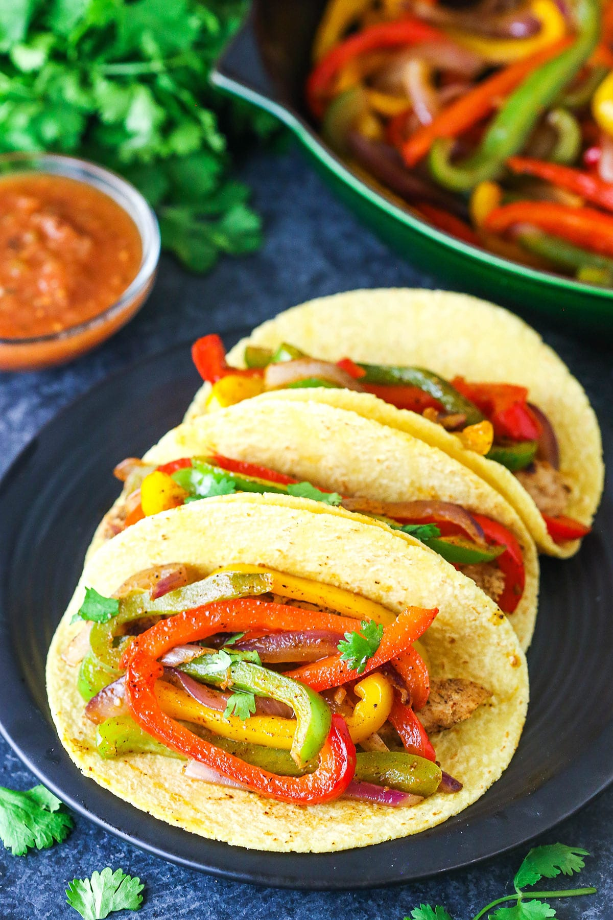 Fajita peppers and onions in a taco