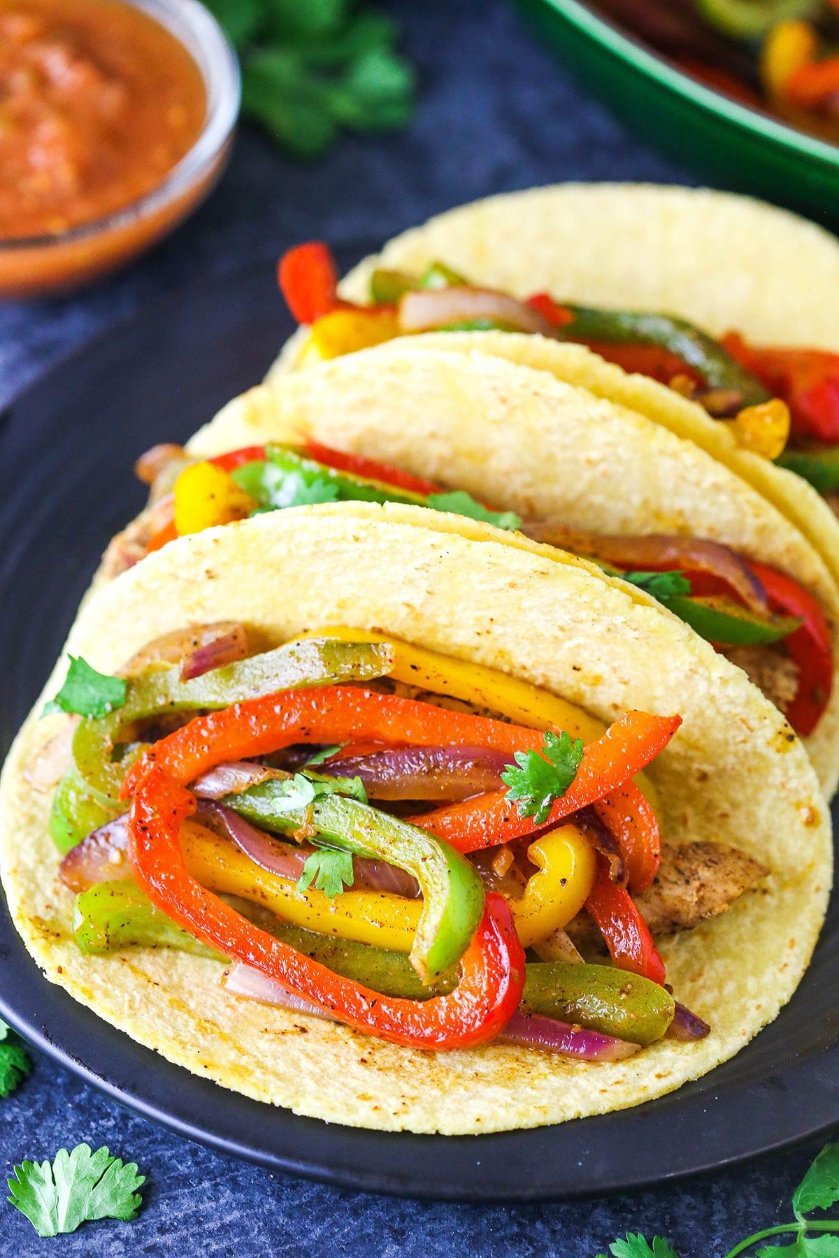 Fajita veggies in a corn taco
