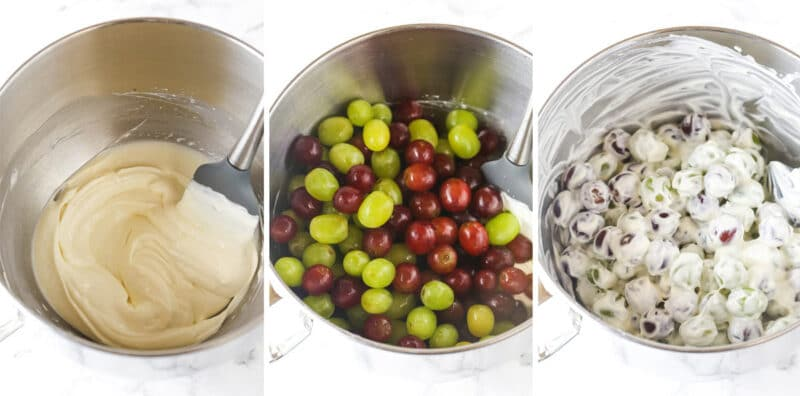 three images showing steps of making grape salad