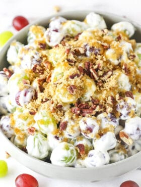grape salad in light grey bowl