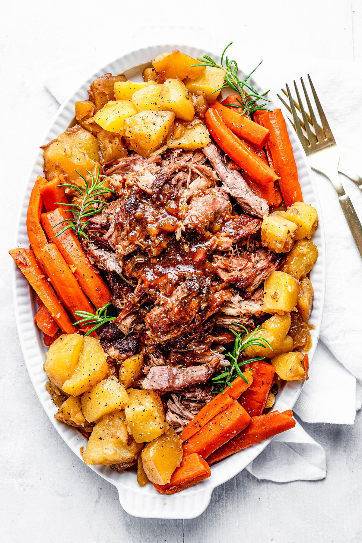 Overhead view of Instant pot pork roast with potatoes and carrots