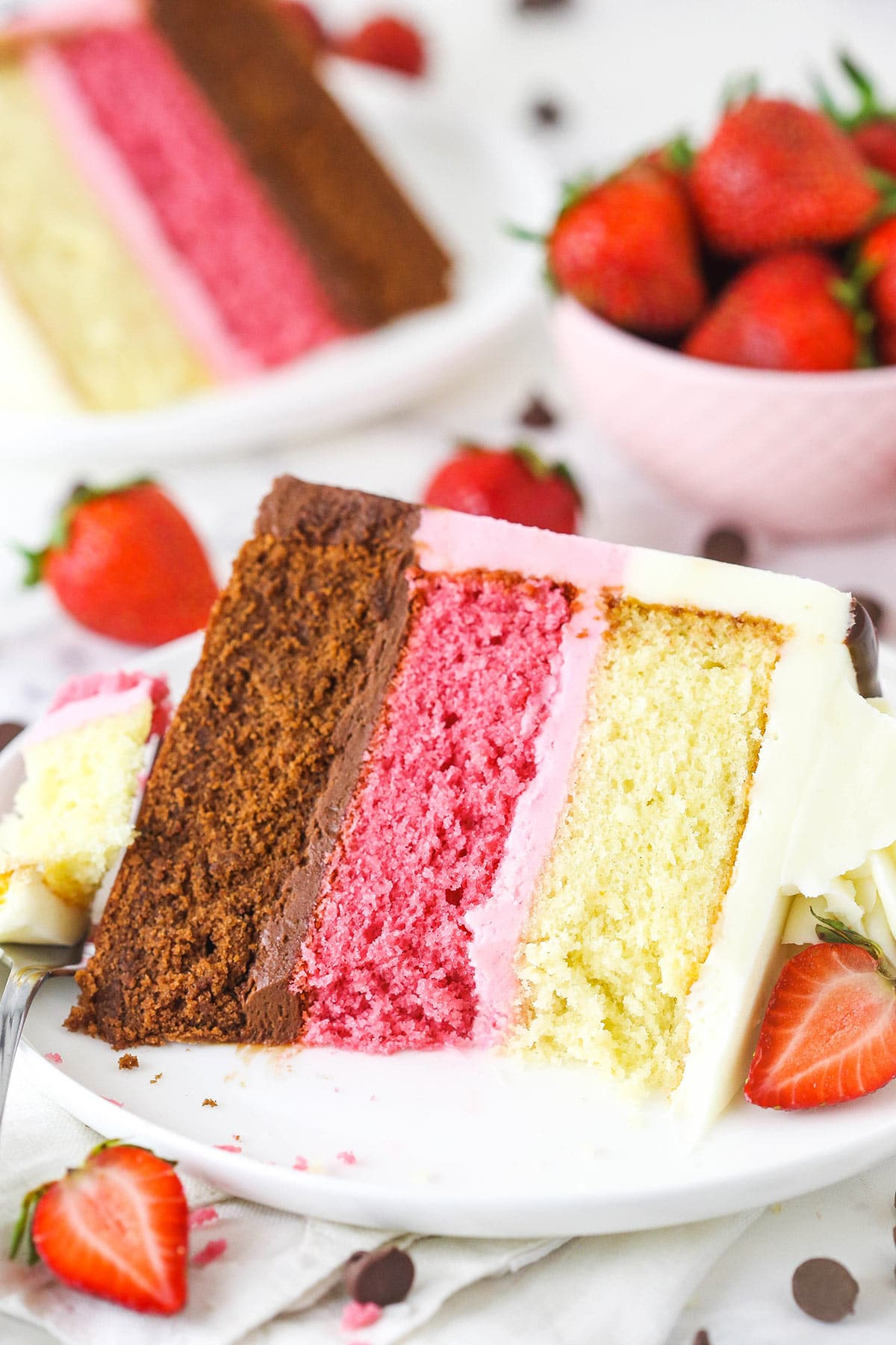 A piece of neapolitan cake on a plate with a big bite taken out spanning all the layers