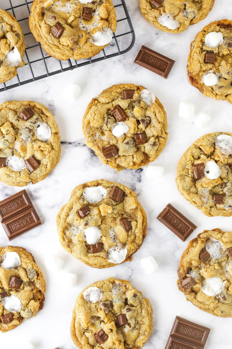 lots of smores cookies sitting on marble table