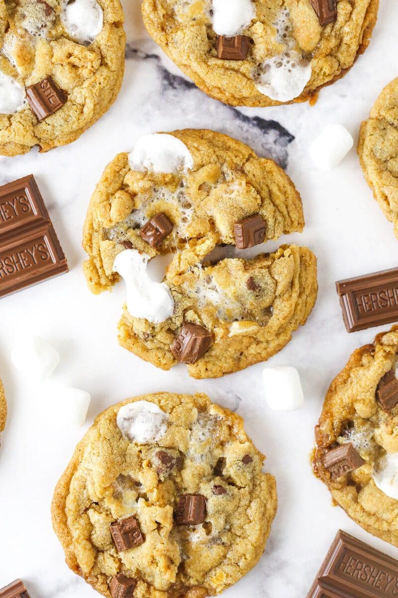 smores cookie broken in half with other cookies around it