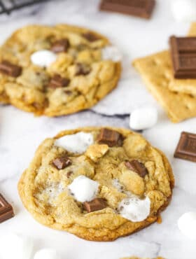 two smores cookies on marble table