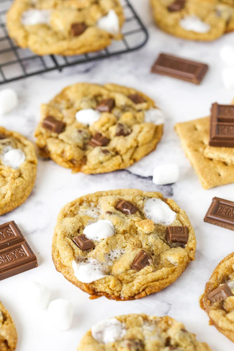 smores cookies on marble table