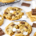 smores cookie broken with melted marshmallow